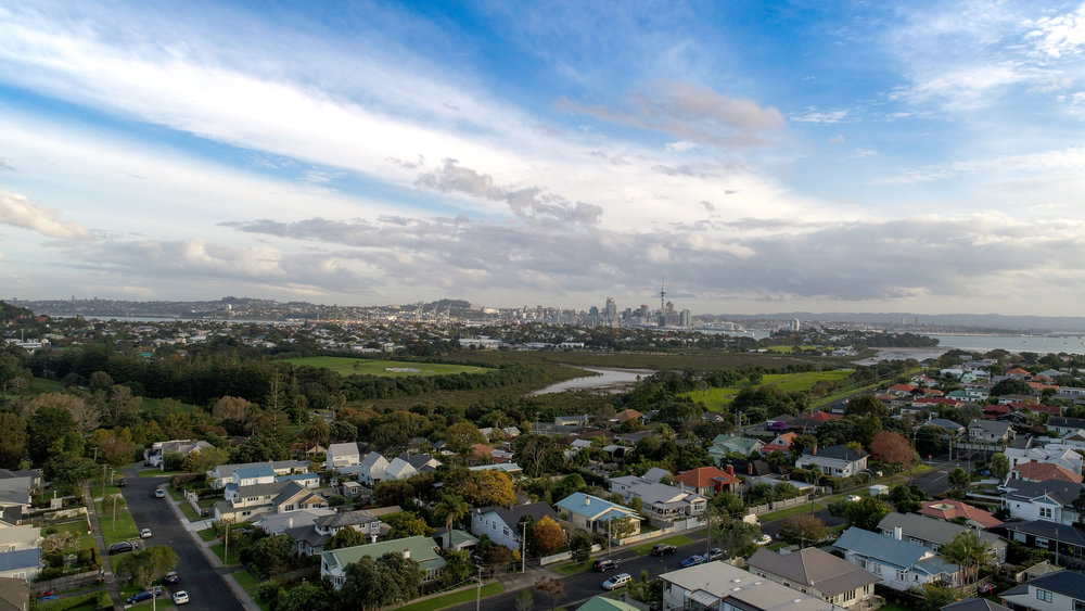 Aerial shot of Auckland with the drone