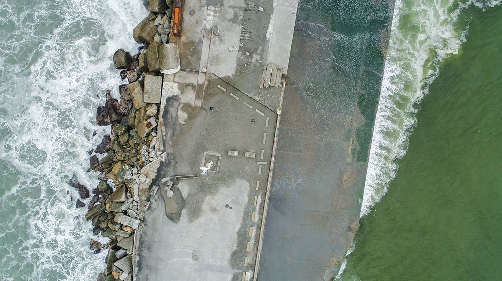 Drone shot from the sky of Greymouth jetty