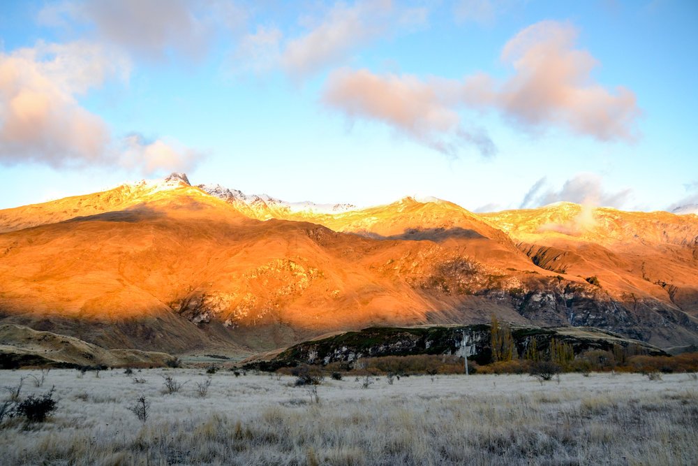Sunrise over snowy mountains in Wanaka