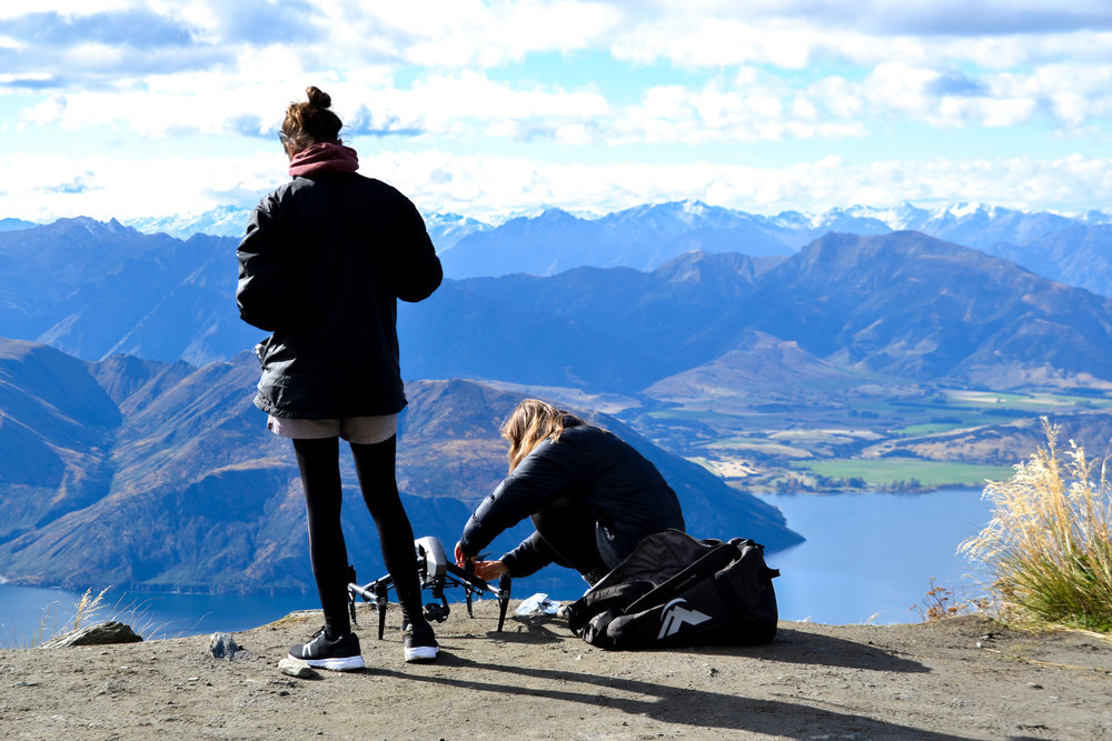 Flying the drone from Roys Peak over the Lake Wanaka