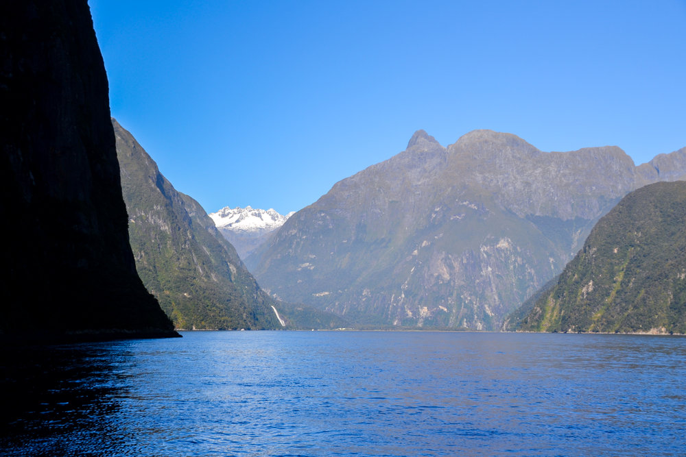 Cruising on a boat in Milford Sound, between mountains and sea