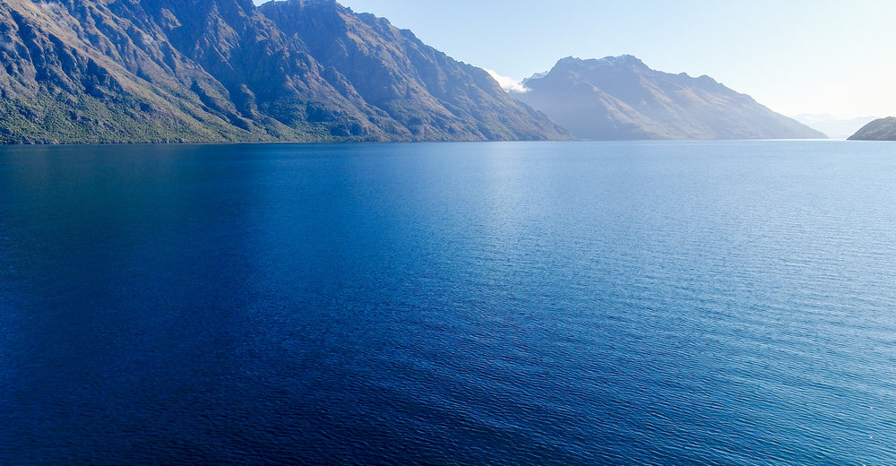 Lake Wakatipu in Queenstown from the sky with the drone