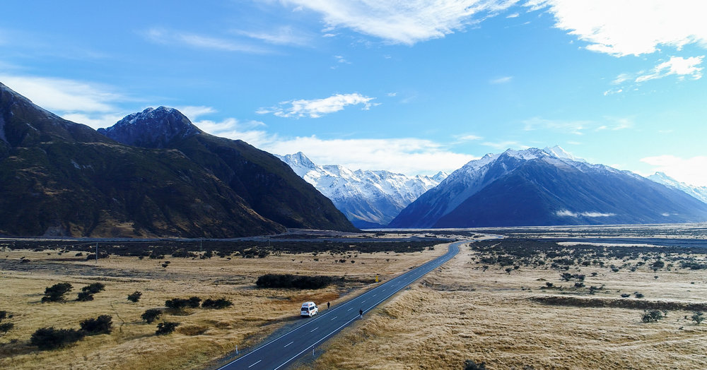Mount Cook and surroundings from the sky with drone in New Zealand