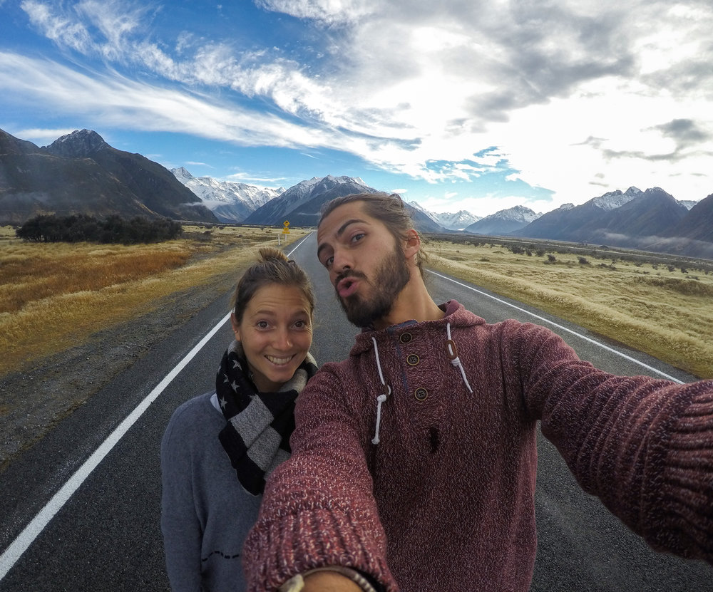 Selfie break on the way to Mount Cook
