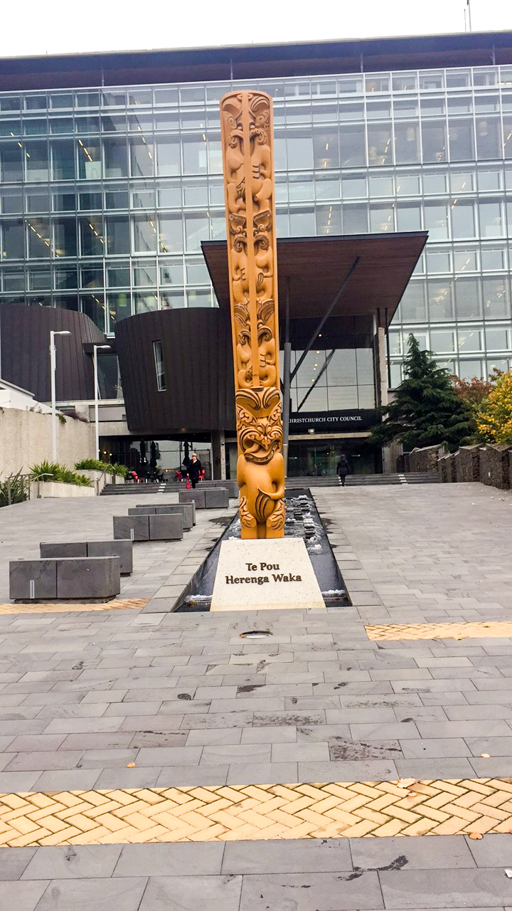Te Pou Herenga Waka statue in front of Christchurch City Council's Civic Offices