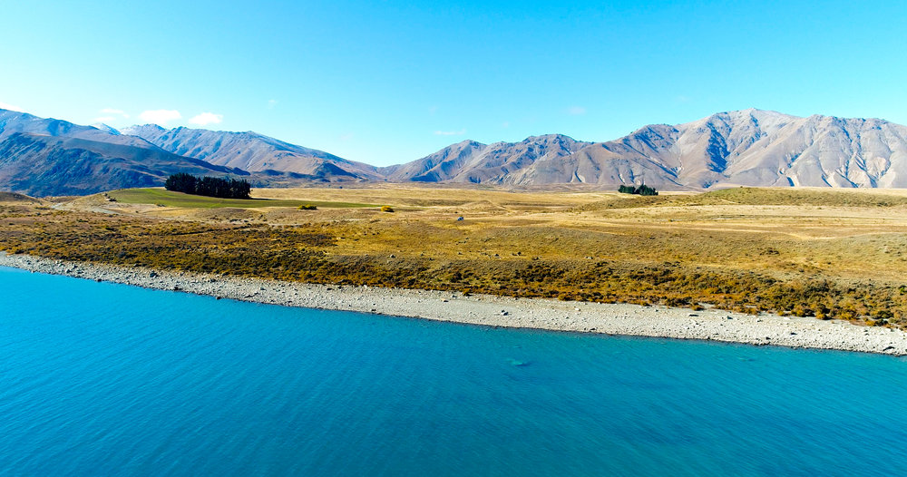 Blue Lake Tekapo from the sky with the drone