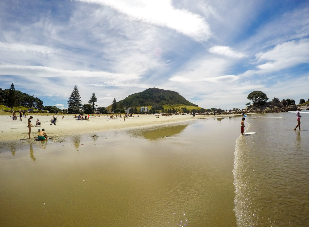 View of Mount Maunganui from the beach in New Zealand