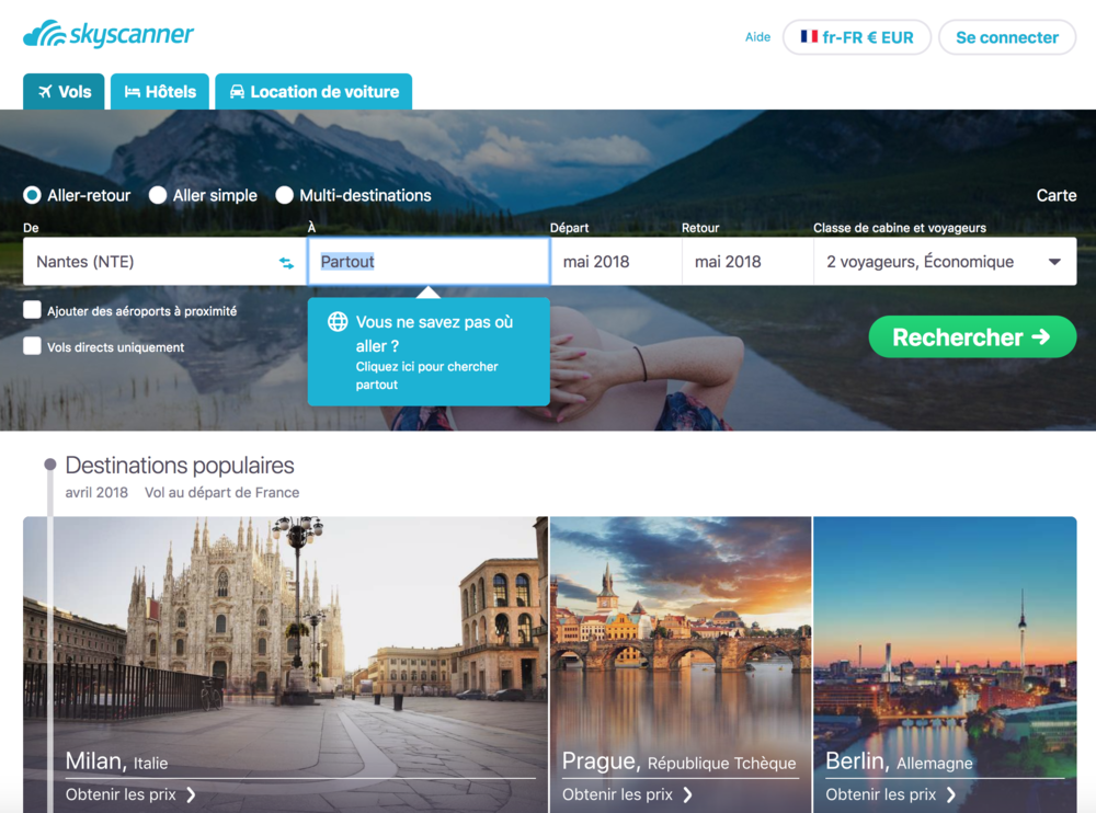 voyager pas cher skyscanner