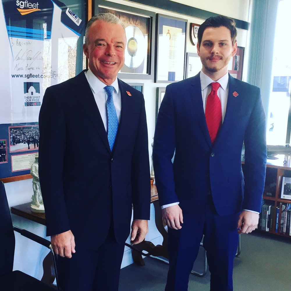Dr Brendan Nelson with Alex Lloyd, after  his interview  for LIFE ON THE LINE.