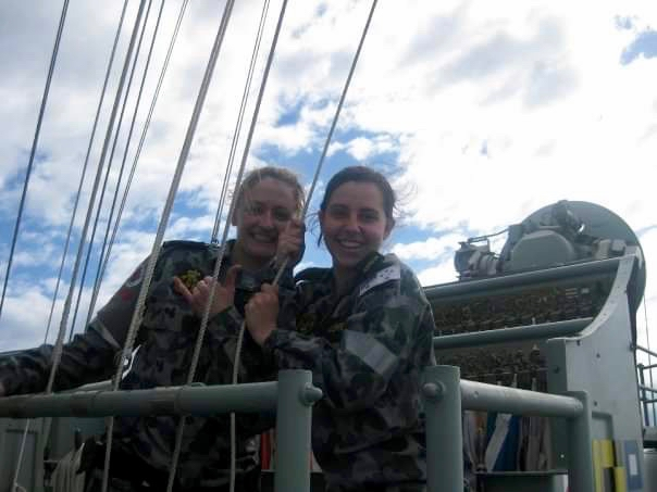 PIC 2      2009 – onboard HMAS MELBOURNE – first day at sea on Melbourne – pic is taken on the flag deck during OOWMANS (Officer of the Watch Manoeuvres ).jpg