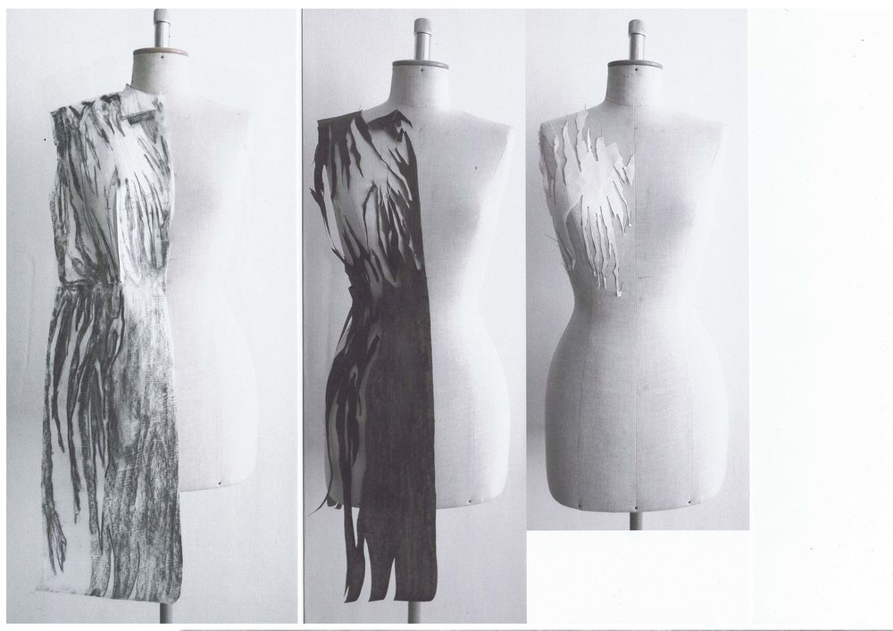 Left print of abstract pleats, Right form x contraform