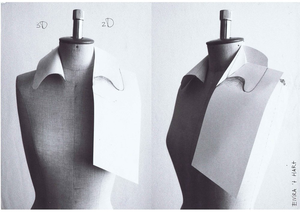 Study of a collar  Left: normal collar Right: optical illusion of a collar
