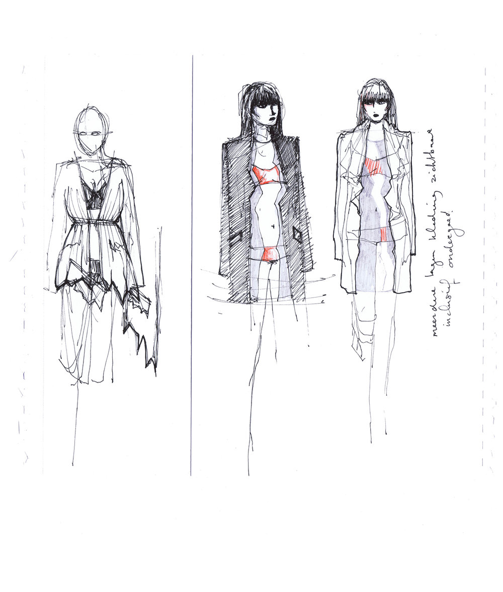 Sketches of torn open garment layers, each torn layer makes another layer visible - 2010