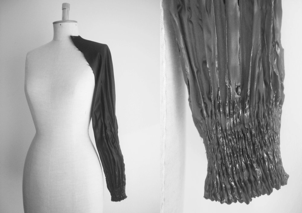 Melted sleeve, pleats made by melting are still flexible. - 2010