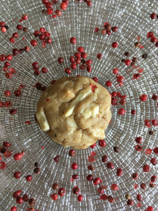 homemade pink peppercorn and white chocolate biscuits