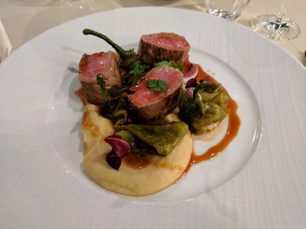 Seared Lamb, hummus and peppers at the Mandarin Bistro in Milan
