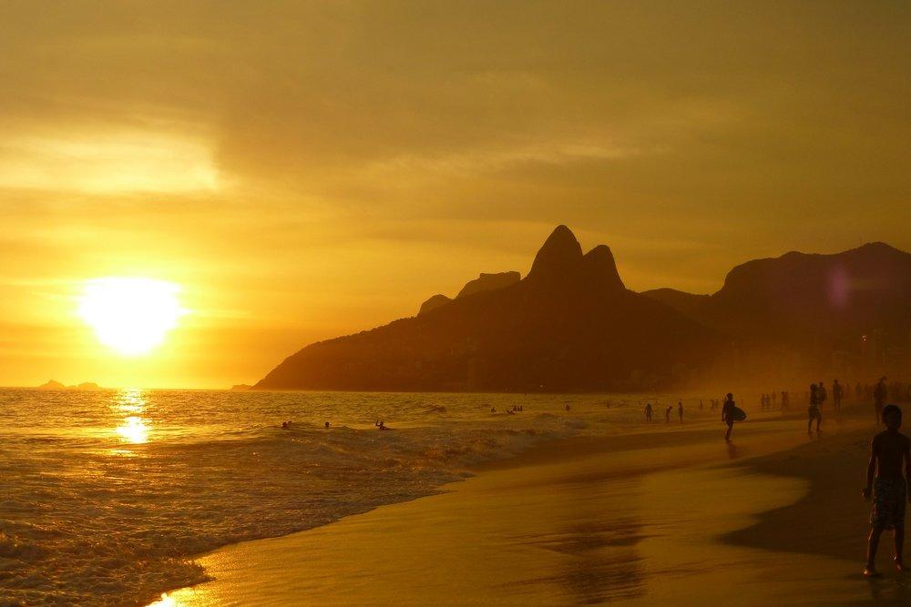 Sunset at Ipanema Beach, Rio de Janeiro, Brazil