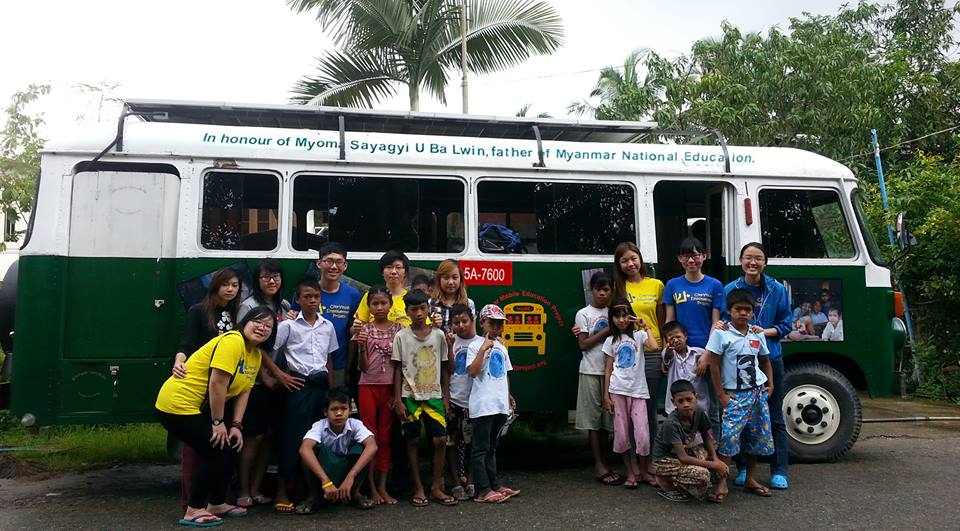 Students and Teachers at the Myanmar Mobile Education bus