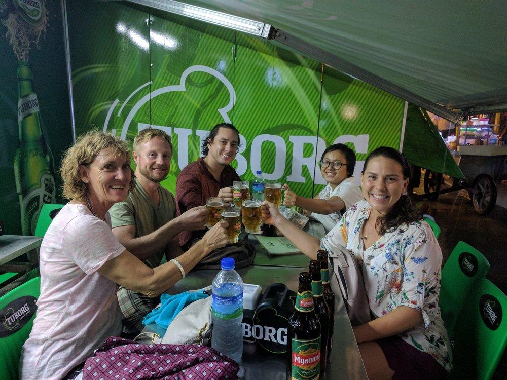 A beer on 19th Street - Yangon Street Food Walking Tour