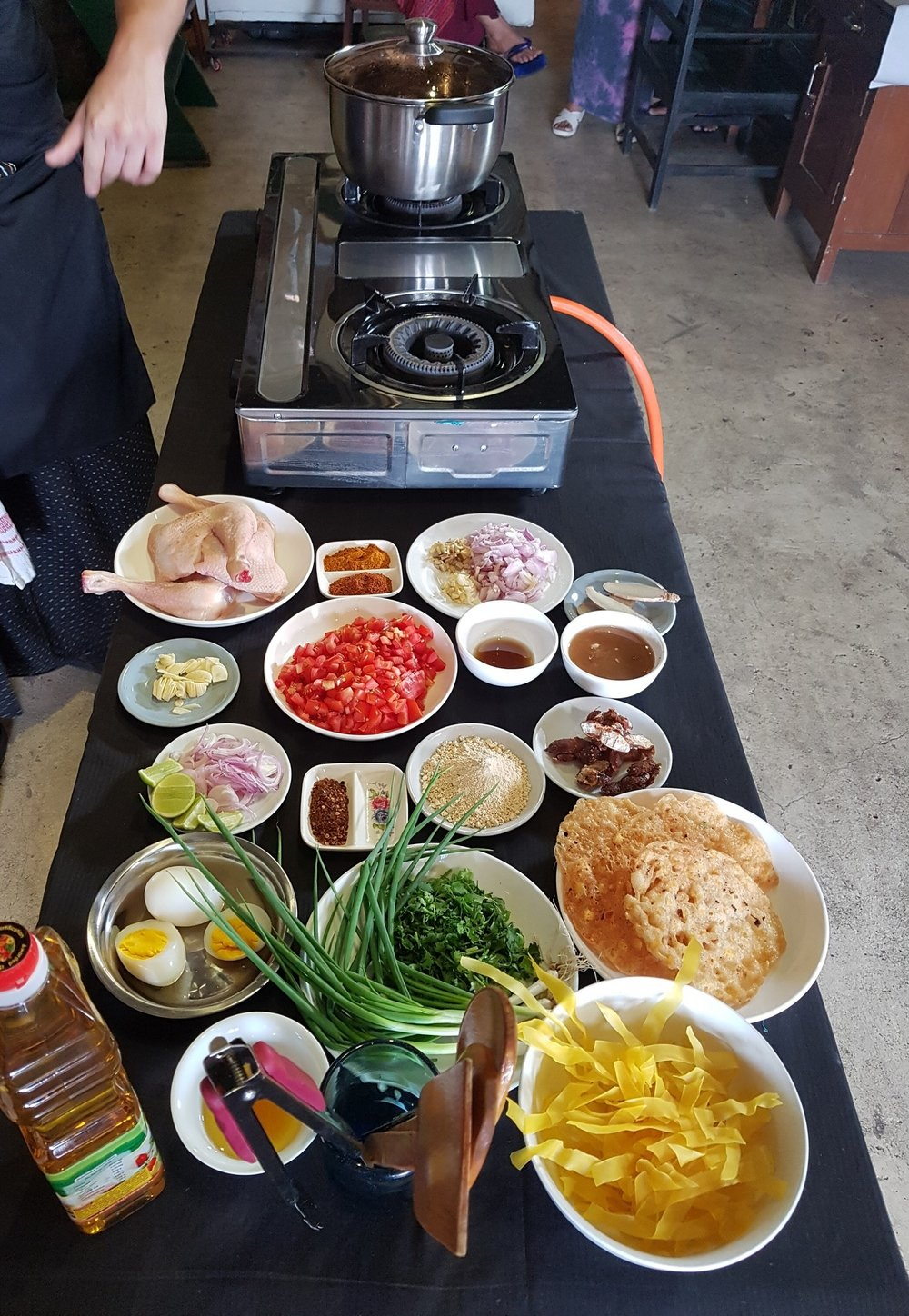Making flat noodle salad in our Yangon cooking class