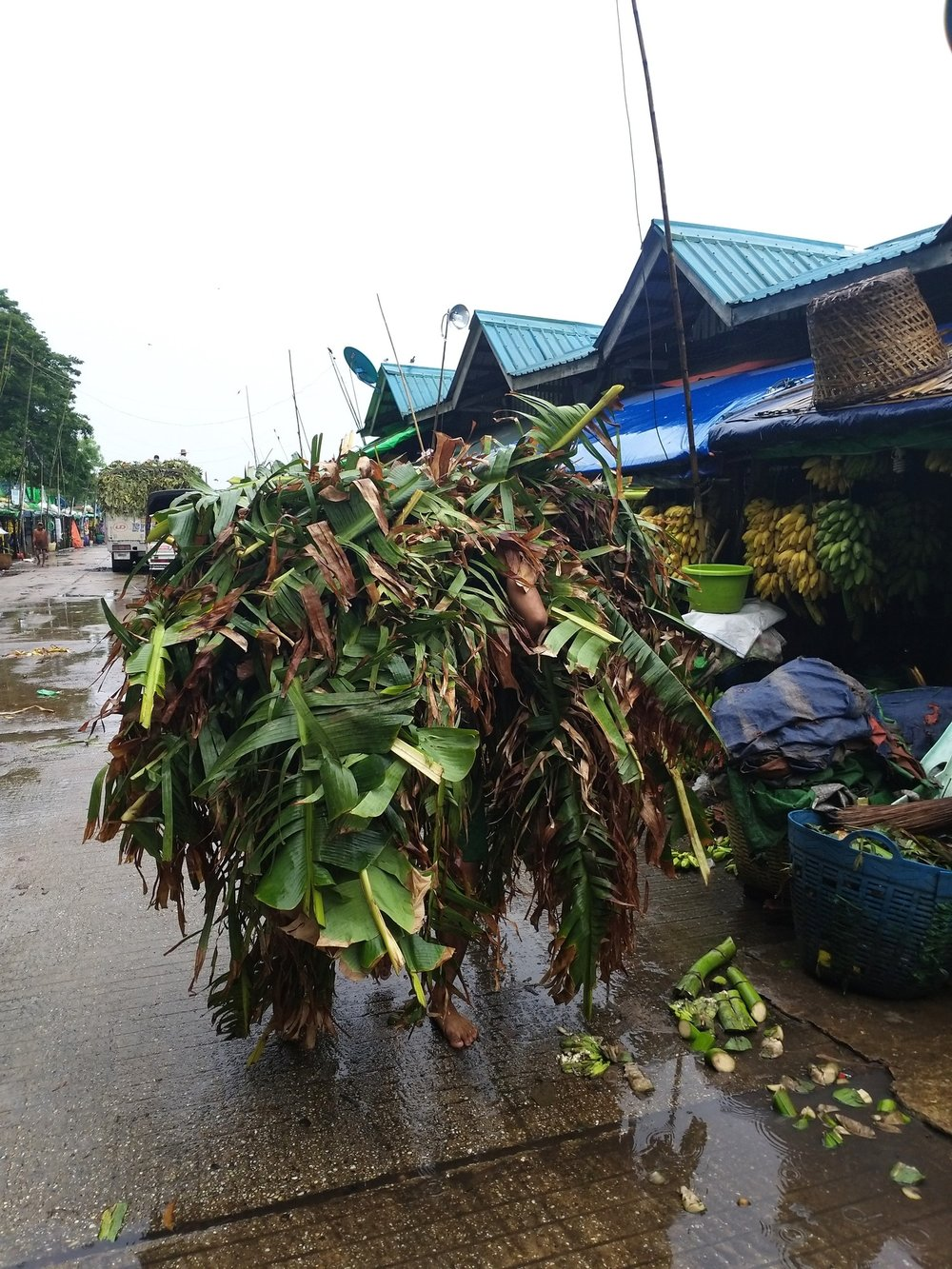 Tidying up at the banana market