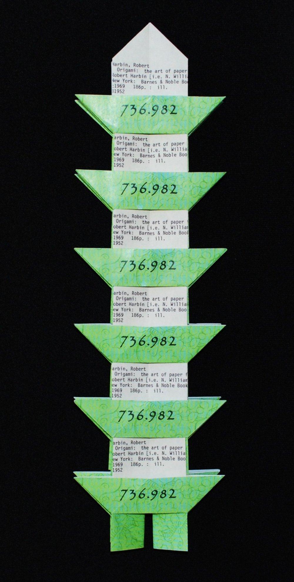 Dewey Decimal Pagoda (origami assemblage)