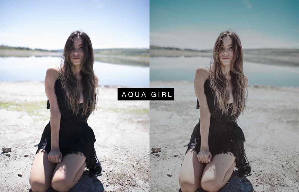 AQUA GIRL - Con tonos pastel , y negros un poco aplastados. Recomendado usar en fotografías que tengan cantidades grandes de azul.