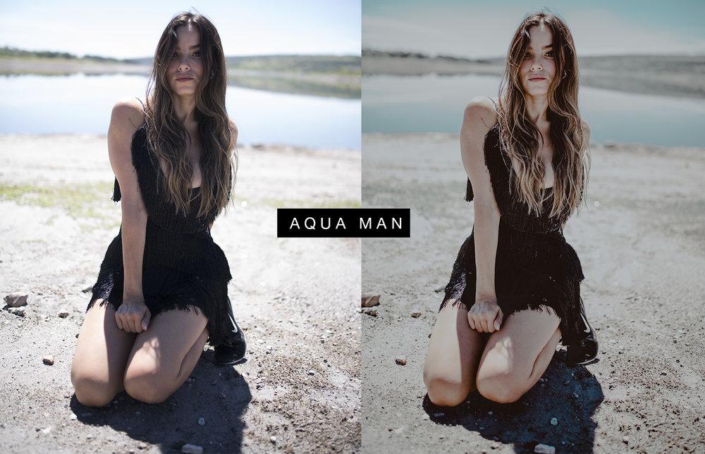 AQUA MAN - Con tonos pastel , y negros contrastados. Recomendado usar en fotografías que tengan cantidades grandes de azul.