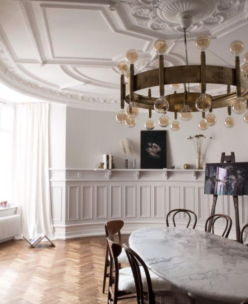 Romantics of wooden floor, high ceiling, and white marble Source: tumblr