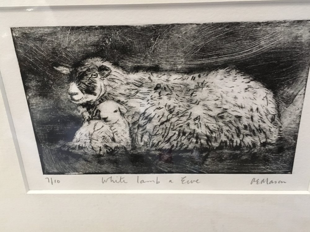 'Engraving' White lamb and Ewe limited edition print 7/10  £28.00