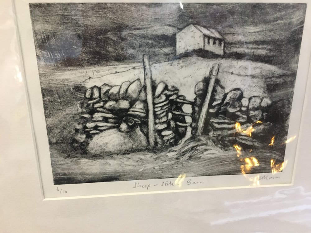 Engraving Sheep stile Barn limited edition print 6/10 £45.00