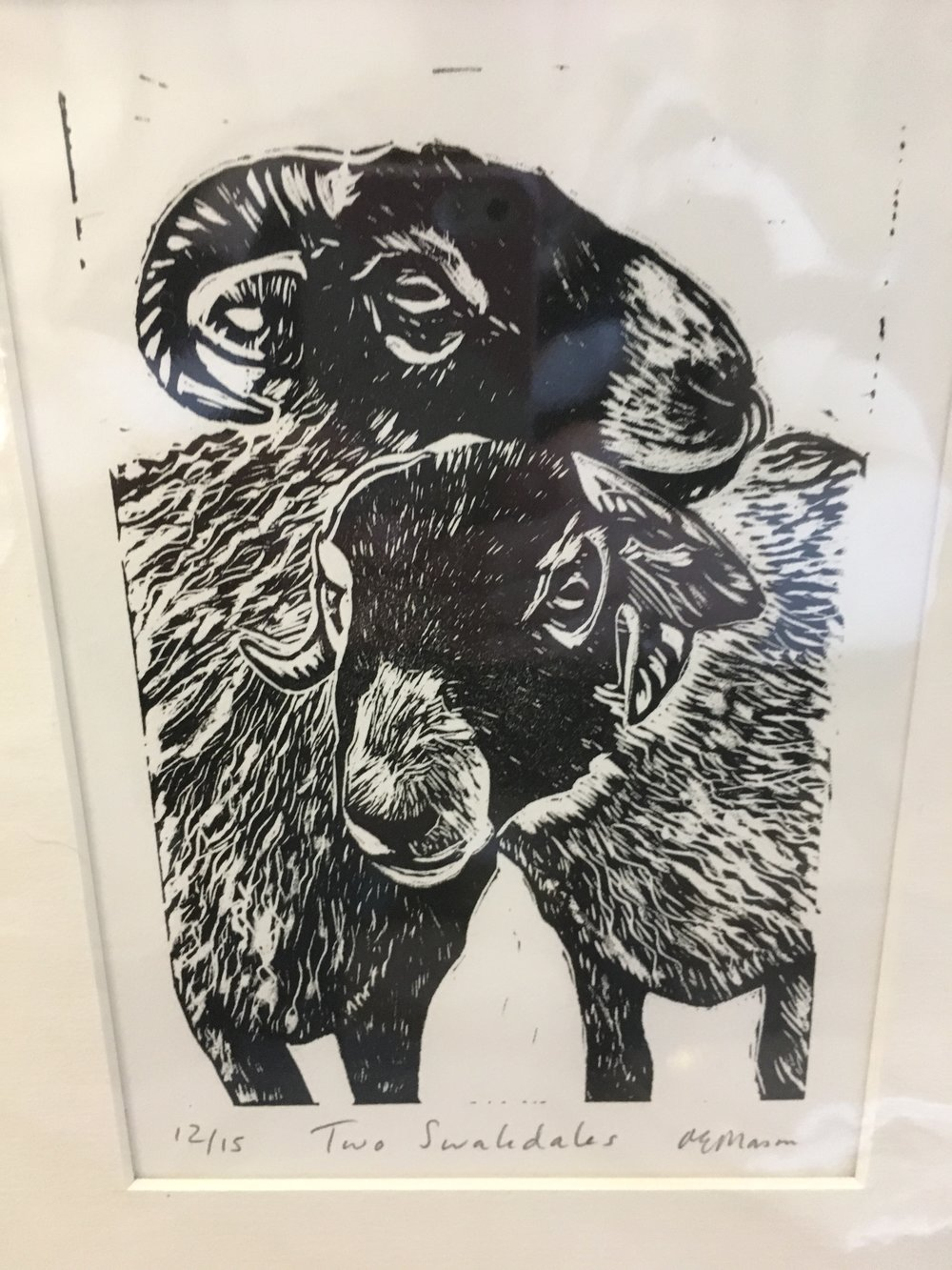 Linocut 'Two Swaledales' limited edition print 12/15 £23.00