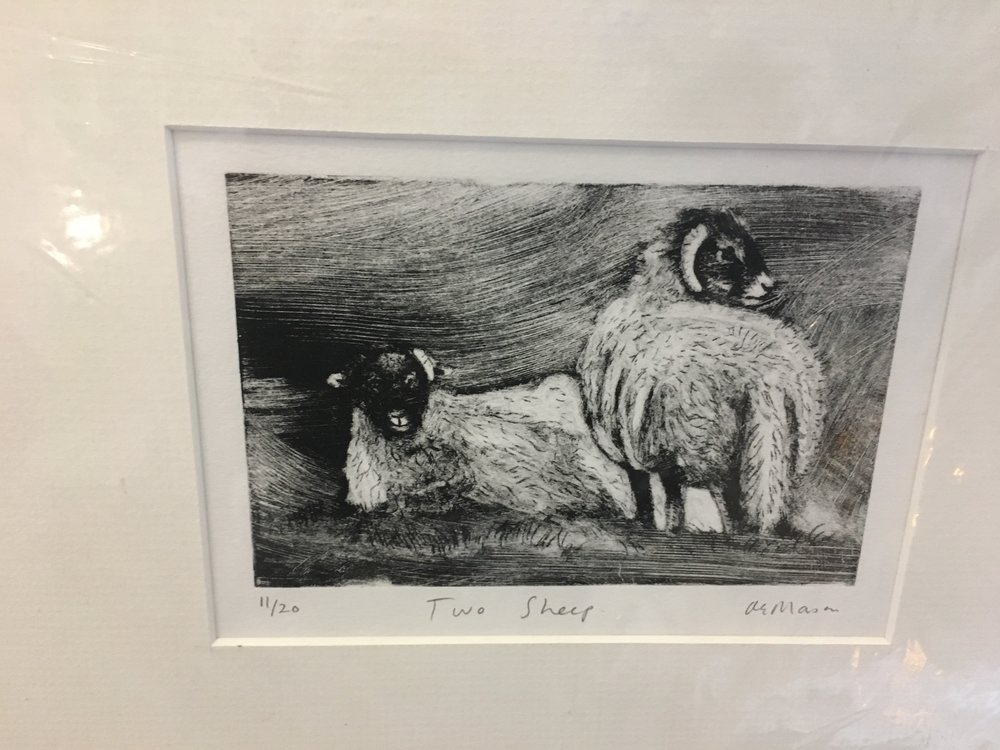 Engraving 'Two Sheep' limited edition print 11/20 £28