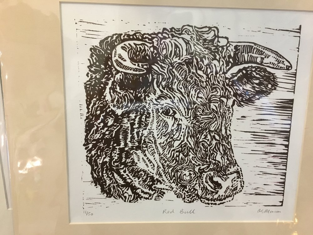 linocut 'Red Bull' limited edition print 11/50 £38.00