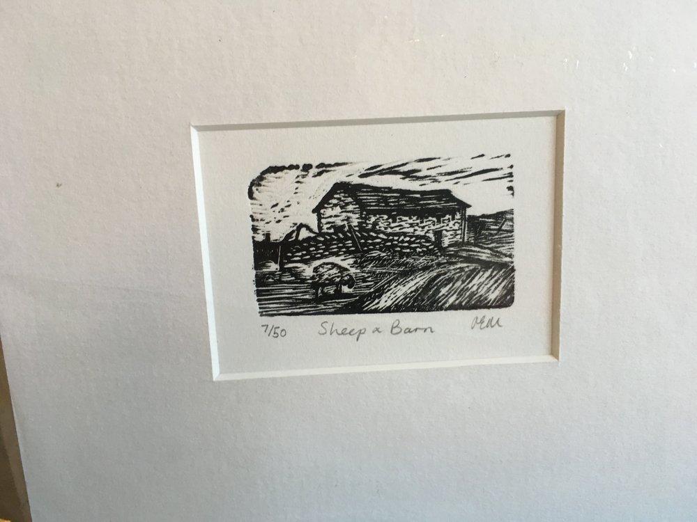 Wood Engraving 'Sheep and Barn' 7/50 £23