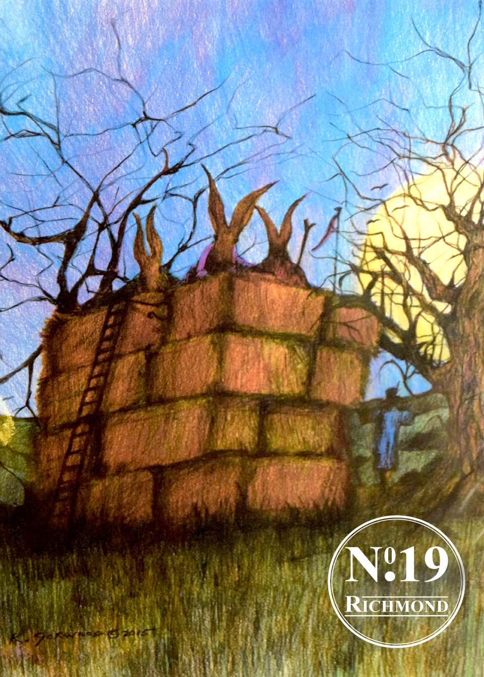"""Giclee Print """"Hares in a Haystack' £40"""