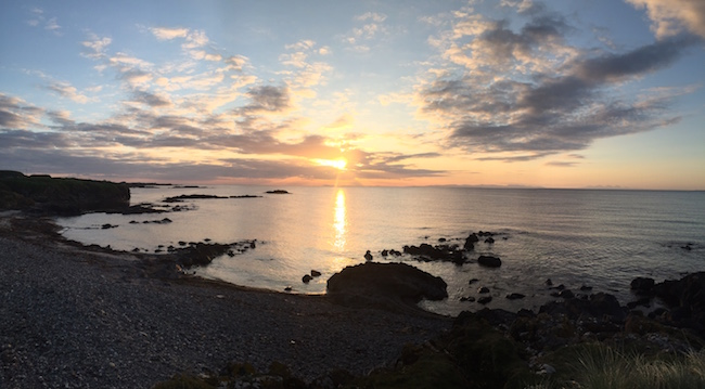 Looking West --  I snapped this panoramic pic during an especially stunning sunset during my annual reunion at Machrihanish.