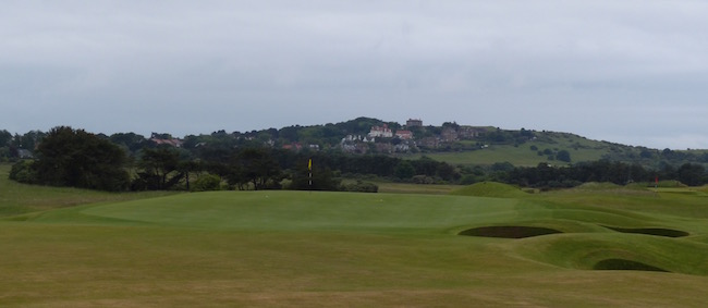 Gray Day --  Externally, a persistent gloom hung over Muirfield the day we got to play it (in this particular moment on the par4 12th hole). But internally? We were as giddy as schoolboys.