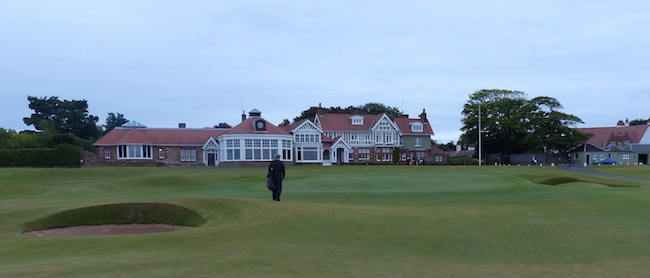 Iconic Finish --  Our joy ride ended much too quickly, with a walk toward the Muirfield clubhouse at the par 4 18th hole.