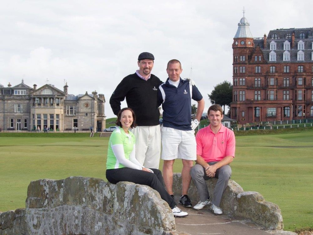 They Do Scotland, Too!  -- Eamonn Kennelly (standing on the left) enjoys a round with his Golf Vacations Ireland colleagues at Scotland's most iconic golf location, the Old Course in St. Andrews. Though the tour operator has deep travel connections on the Emerald Isle, about one third of the trips they book for their clients are to Scotland.
