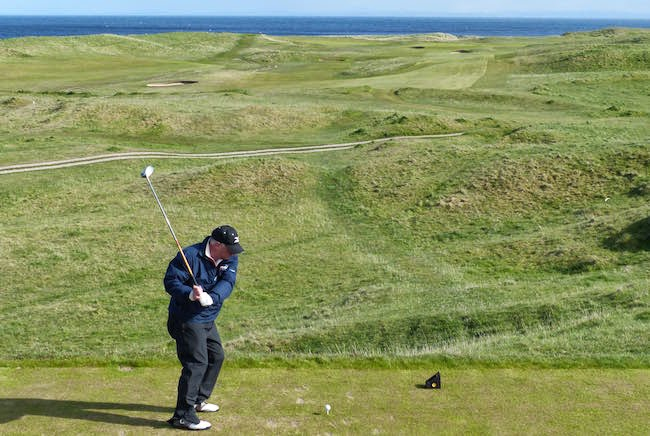 Wide Open Spaces --  My buddy Craig fires away on the 17th at Brora, a 438-yard par 4 that's also known as Tarbatness.