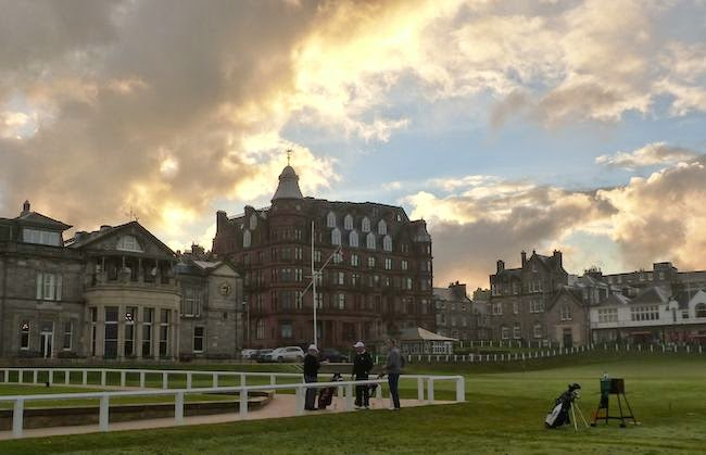 Building Anxiety -- Players prepare to embark on their journey under the watchful eye of the R&A clubhouse (left).