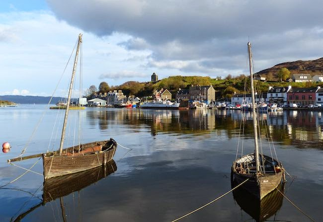 Calm After the Storm --  Serenity settles upon Tarbert after the morning's bluster. The large vessel in the distance was my second ferry en route to Machrihanish.