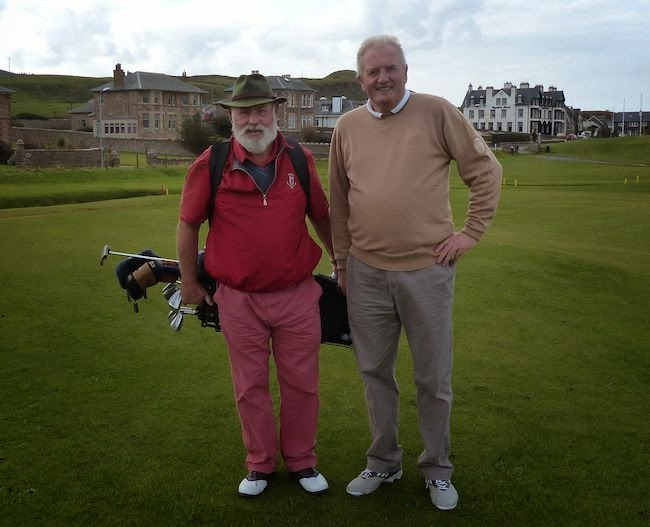 B&B Buddies --  I met Harry, left, and Stewart at the Warren the night before this photo was taken. In between, we toured the links. After, we shared a pint.