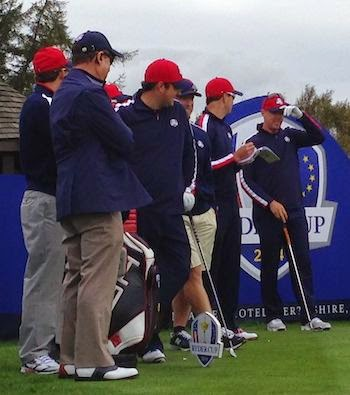 Watchful Eye -- USA Captain Tom Watson (in blazer on the left) observes the play of (left to right) of Patrick Reed, Zach Johnson and Hunter Mahan.