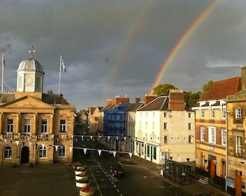 A Flat with a View -- Here's what awaits us from our third-floor apartment in the heart of the Kelso town square. I snapped this pic in 2011 when we spent two weeks there. Now? Two months. Woohoo!
