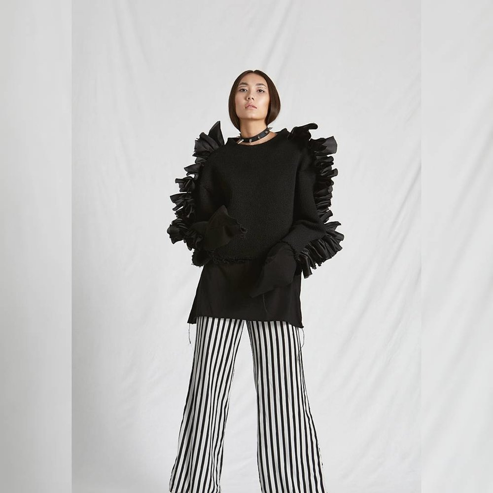 Editorial 'Frilled' in  @lucysmagazine  . Jumper: Harry Millward  Pants: Victoria Beckham  Photography –Danielle Chau Stylist – Nelly Skoufatoglou Hair & Make up – Nicole Giardossi  Model –Ben Hebbard