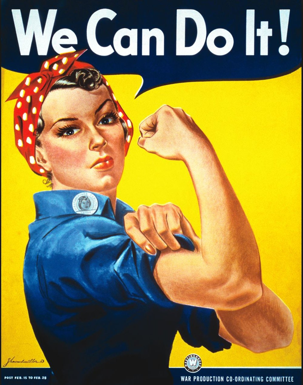 - ROSIE THE RIVETERRosie the Riveter, a cultural icon, represented the women who were called on to enter the workforce during World War II. As men enlisted as soldiers between 1940 – 1945, over 6 million American women enter the workforce. Women took on tough jobs which filled the gaping holes left in the industrial workforce. The government aimed at recruiting women during this period and the most iconic image of working women during the war represented all women and became the symbol of female empowerment.