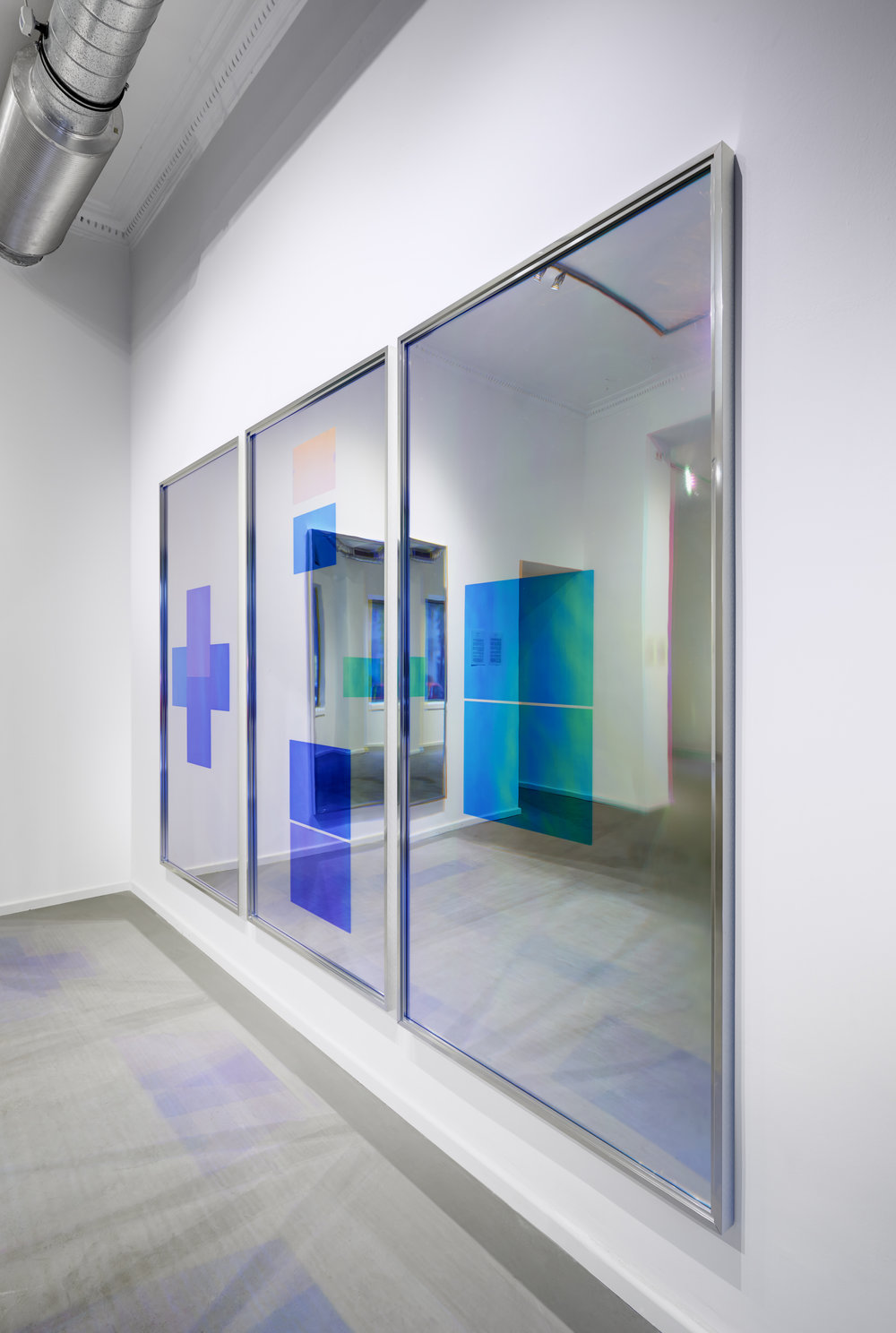 Spiegel im Spiegel / Part I, II, III, IV (Quadriptych),  2014 - Side view Acrylic foil on mirror beneath Radiant Plexiglas, aluminium frame structure 400 x 200 cm (157 x 79 in)