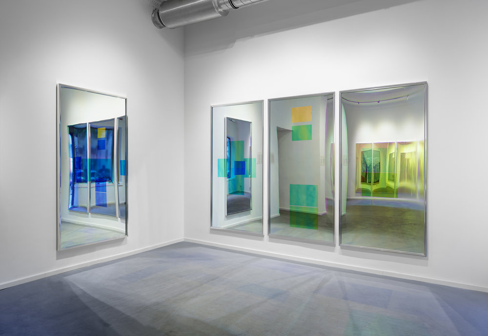 Spiegel im Spiegel / Part I, II, III, IV (Quadriptych),  2014 - Installation view Acrylic foil on mirror beneath Radiant Plexiglas, aluminium frame structure 400cm x 200cm (157 x 79 in)
